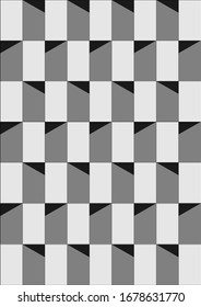 Abstract isometric pattern with lines and shadow