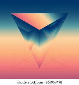 Abstract isometric prism with the reflection of the space and low poly triangles on blurred background. Vector futuristic multifunctional backdrop.