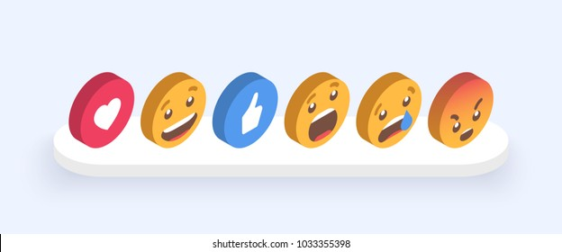 Abstract Isometric Set of Emoticons. Emoji flat style icons on white background. Vector EPS 10