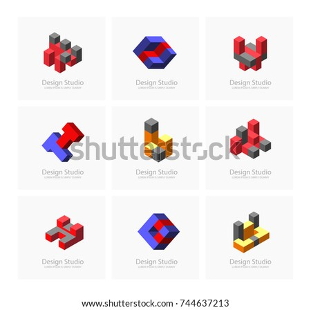 abstract isometric set logotype dimensional 3 d stock vector