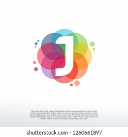 Abstract J Initial logo designs concept vector, Colorful Letter J logo designs