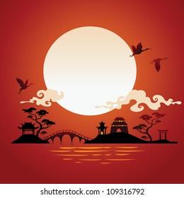 Arrière-plan abstrait japonais - coucher de soleil.