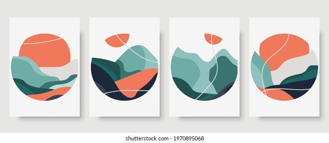 Abstract japanese landscape wall art print set. Abstract landscape poster for decor. Minimal mid century wall art set vector for asian culture. Colorful japanese posters for contemporary decor