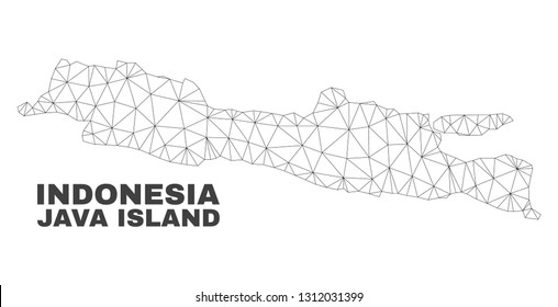 Abstract Java Island map isolated on a white background. Triangular mesh model in black color of Java Island map. Polygonal geographic scheme designed for political illustrations.