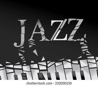 Abstract Jazz Art, Piano Background with geometric shapes (Vector Art)