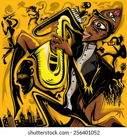 Abstract Jazz Art, Saxophonist of the City (vector Art)