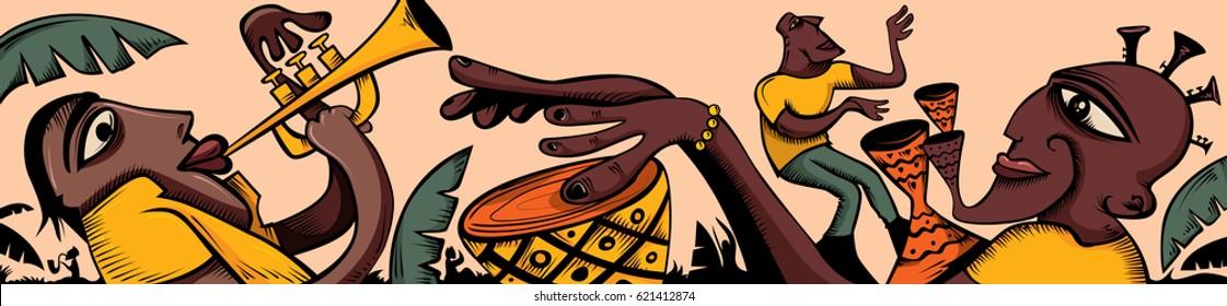 Abstract Jazz Art, Trumpet, Saxophone, Tropical Environment (Vector  Art)