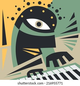 Abstract Jazz Concept, Piano Player, Music pop art (Vector Art)