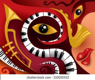 Abstract Jazz Music Art