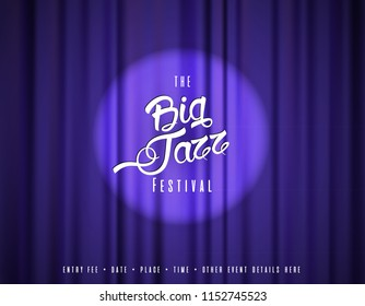 Abstract jazz music festival advertising poster template with theater curtain.