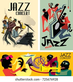 Abstract Jazz Poster Collection, Music Band (Vector Art)