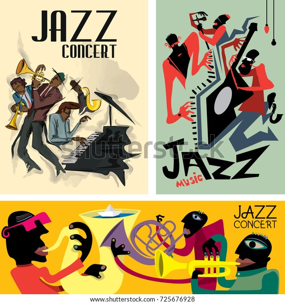 Abstrakte Jazzposterkollektion Musikband Vektorkunst Stock