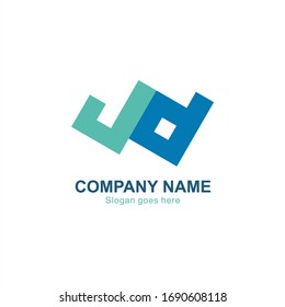 abstract JD logo letters design. Design of alphabet JD letter in square style suitable as a logo for a company or business.