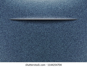Abstract jeans background with horizontal slit.