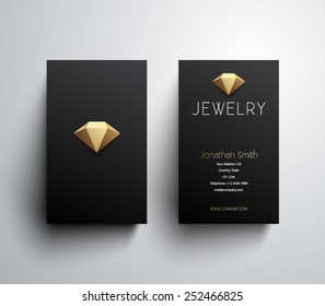 Abstract jewelry business card template, clean and modern style design. Logo, logotype, brand, branding, identity, company