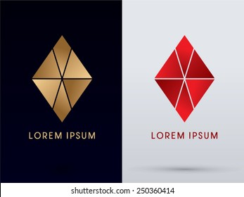 Abstract Jewelry, diamond, gemstone, designed using gold and red colors, geometric shape, logo, symbol, icon, graphic, vector.