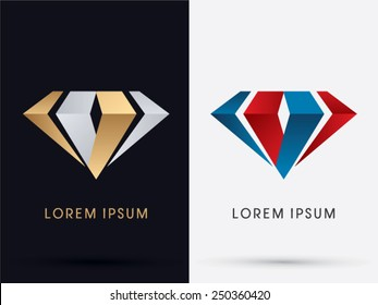 Abstract Jewelry, diamond, gemstone, designed using gold and silver , red and blue colors, logo, symbol, icon, graphic, vector.
