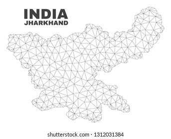 Abstract Jharkhand State map isolated on a white background. Triangular mesh model in black color of Jharkhand State map. Polygonal geographic scheme designed for political illustrations.