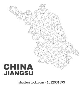 Abstract Jiangsu Province map isolated on a white background. Triangular mesh model in black color of Jiangsu Province map. Polygonal geographic scheme designed for political illustrations.