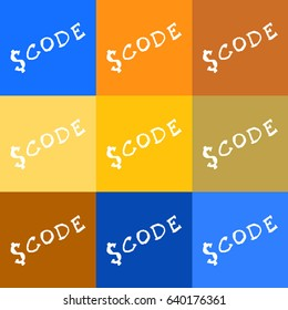 Abstract jquery, javascript vector code logo on colored backgrounds.