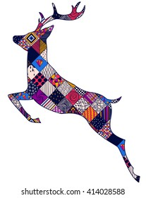 abstract jumping deer with ornaments, isolated object, vector illustration