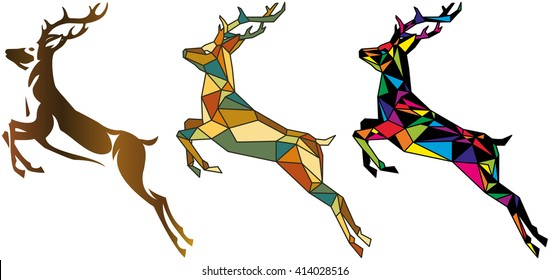 abstract jumping deer for your design, vector illustration, isolated object