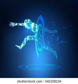 abstract jumping man in futuristic theme