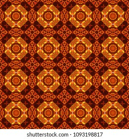 Abstract kaleidoscope orange, brown and red background. Seamless pattern illustration for design. Vector illustration. Bright flower.
