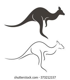 Abstract kangaroo and outline kangaroo on white background. EPS 10. Vector illustration
