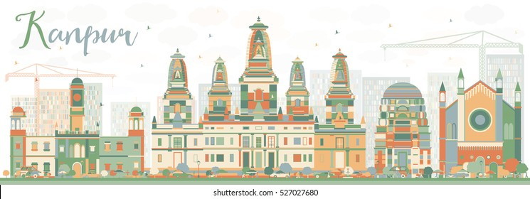 Abstract Kanpur Skyline with Color Buildings. Vector Illustration. Business Travel and Tourism Concept with Historic Architecture. Image for Presentation Banner Placard and Web Site