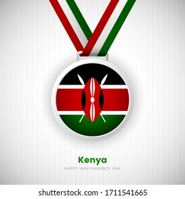 Abstract Kenya country flag on medal vector. Happy Independence day of Kenya background with classic typography.