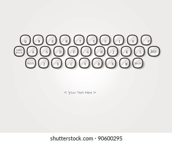 Abstract keyboard with text isolated on white background