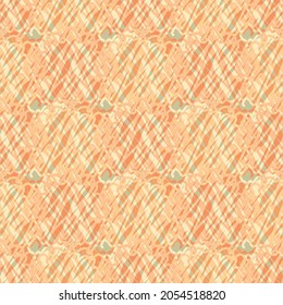 Abstract knitted vector pattern texture background. Orange backdrop with irregular loops of crochet style yarn thread. Scribbled textured repeat. Looped doodle lines all over print for summer.