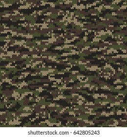 Abstract Knitting Pattern in Camouflage Style. Seamless Vector Background