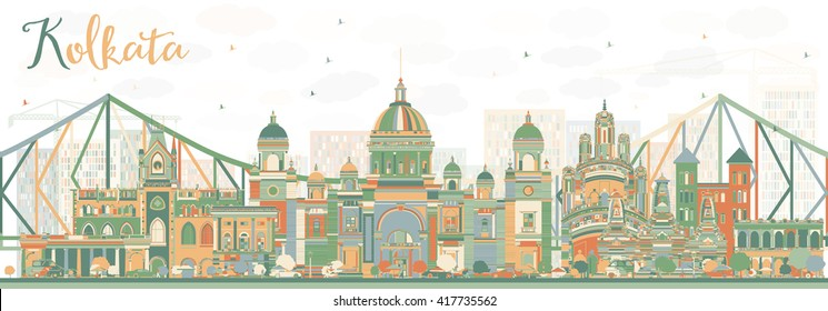 Abstract Kolkata Skyline with Color Landmarks. Vector Illustration. Business Travel and Tourism Concept with Historic Buildings. Image for Presentation Banner Placard and Web Site.