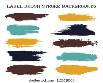 Abstract label brush stroke backgrounds, paint or ink smudges vector for tags and stamps design. Painted label backgrounds patch. Interior colors guide book elements. Ink stains, teal brown spots.