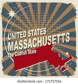 Abstract label with name and map of Massachusetts, vector illustration