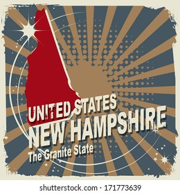 Abstract label with name and map of New Hampshire, vector illustration