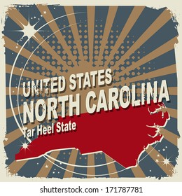 Abstract label with name and map of North Carolina, vector illustration