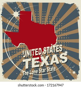 Abstract label with name and map of Texas, vector illustration