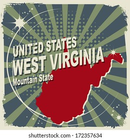Abstract label with name and map of West Virginia, vector illustration