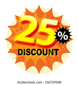 Abstract label or sticker with the text 25 percent Discount, written inside, vector illustration