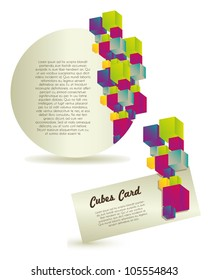 Abstract labels of colorful cubes. vector illustration
