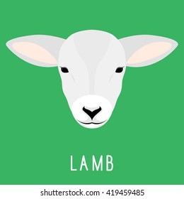 Abstract lamb head isolated on green background. Cartoon cute lamb portrait for design card, invitation, banner, book, scrapbook, t-shirt, poster, sketchbook, album etc.