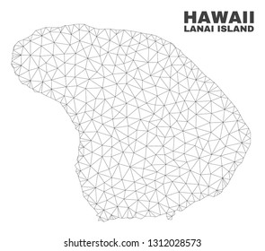 Abstract Lanai Island map isolated on a white background. Triangular mesh model in black color of Lanai Island map. Polygonal geographic scheme designed for political illustrations.
