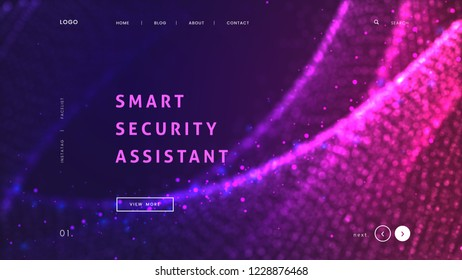 Abstract landing page template with a glowing purple particles background - Smart sequrity assistant, can be used for communication technology, iot app interface and futuristic dynamic website. Vector