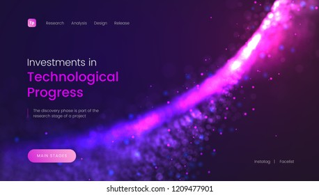 Abstract landing page template with a shiny purple particles background - Investments in Technological Progress, can be used for business, internet technology and web interface. Header for website