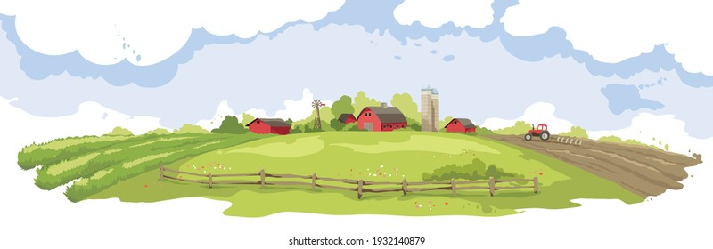 Abstract landscape -- american farm. Vector illustration, rural view -- fields and meadows.