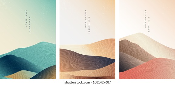 Abstract landscape background with Japanese pattern vector. Mountain template with line elements in Asian style