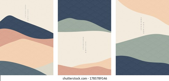 Abstract landscape  background with Japanese wave pattern vector. Curve  element  with mountain  forest silhouette  template illustration.